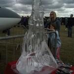Typhoon fighter jet ice sculpture