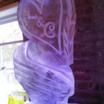 heart luge with initials ice luge
