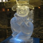 Snowman with lights ice sculpture