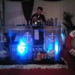 Titanic ice bar with portholes and waves
