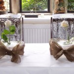 White roses in ice table decoration