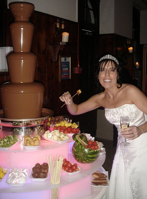 Bride With Chocolate Fountain Great Addition To A Wedding Reception