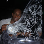 Ski Jump Ice Sculpture Vodka Ice Luge for Chelsea FC Didier Drogba Birthday.