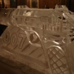 Bond 007 Walther PPK gun side view - Ice Luge - Luge for Vodka - Ice Carving Sculpture | Ice Agency
