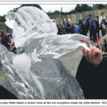 Penguin Live Carving Sculpture Newspaper Cutting | Ice Agency