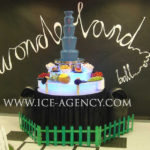 Blue chocolate fountain for Alice In Wonderland ball