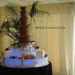chocolate fountain with palm tree in background