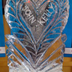 Heart & Names Wedding Ice Vodka Luge