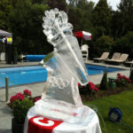 Olympic Torch luge - Ice Sculpture next to Swimming Pool | Ice Agency