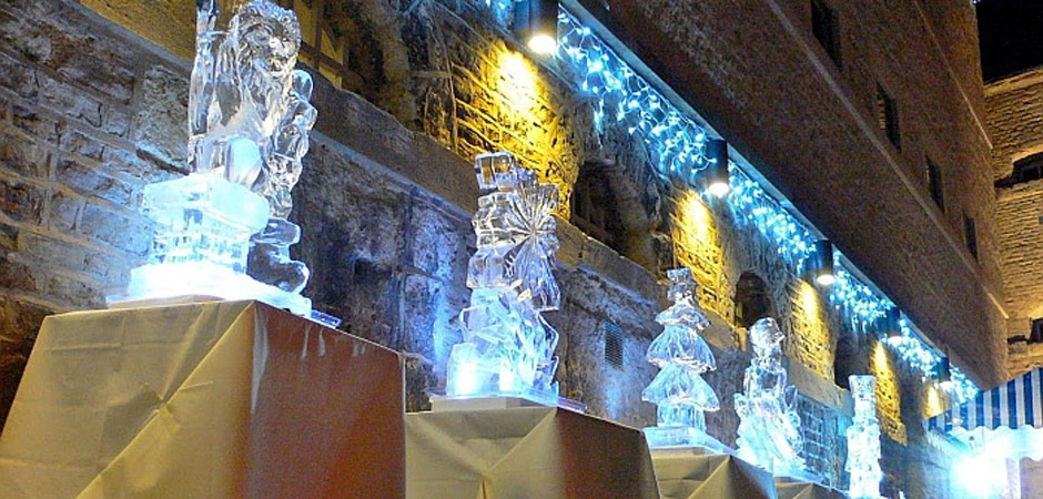 ice sculptures against castle wall