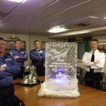 HMS Invincible 70th Anniversary of Battle of the Atlantic - Anniversary Sculpture - Ice Carving Sculpture | Ice Agency
