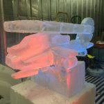 Apache Helicopter vodka ice luge sculpture for the army air corp | Ice Agency