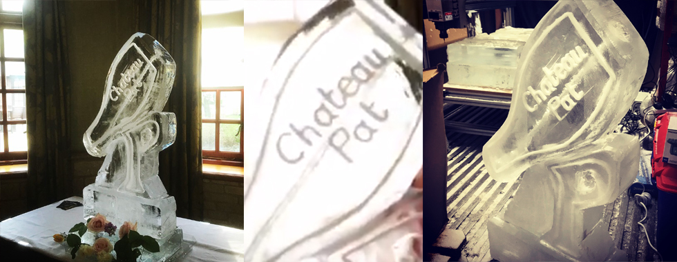 Champagne Ice Luge Etched Writing | Ice Agency
