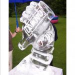 1m high ice luge of a bottle and hand for event | Ice Agency