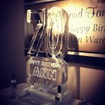 70th Birthday Number Ice Sculpture Vodka Ice Luge
