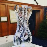 Ski themed Ice Sculpture Vodka Ice Luge for Apres Ski Party Theme