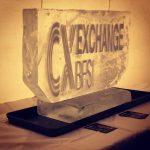 Etched Logo ice sculpture vodka luge at Hilton Hampton Hotel