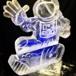Spaceman Space Force Ice Sculpture Vodka Ice Luge for Birthday Party