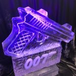 007 Gun Ice Sculpture Vodka Ice Luge Ice Carving for No Time To Die Party