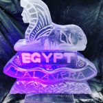 Large Ice Sculpture Vodka Luge of a Talavera Sphinx for Royal Anglian Regiment