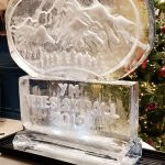 Apres Ski Themed Vodka Ice Luge Ice Sculpture for RAC Club Xmas Party