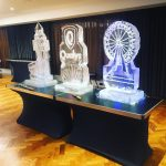 london skyline Ice Sculpture Vodka Luge Ice Carving with Big Ben ice sculpture and London Eye Ice Sculpture