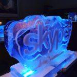 Skype Logo Ice Sculpture Vodka Luge Ice Carving
