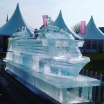 Virgin Voyages Cruise Ship launch ice sculpture for Scarlet Lady cruise
