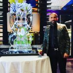 Champions League Cup Ice Sculpture Vodka Ice Luge for Ali Hamidi at Monster Carp TV