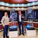 Boris Johnson ice sculpture for TV News
