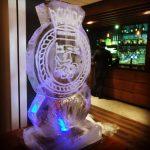 Royal Navy Ships Crest Ice Sculpture Vodka Luge for HMS Iron Duke Party