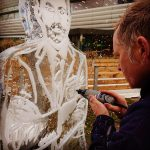 Soccer Am Christmas Special Live Ice Carving of Gareth Southgate for Sky Sports