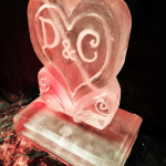 Heart With Initials Vodka Ice Luge Ice Sculpture For Surrey Wedding
