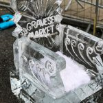 Christmas Market Live Ice Sculpture Carving Display in Kent