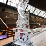 Leaping Cod Ice Sculpture Vodka Luge Ice Carving at Cutty Sark for RMG Events