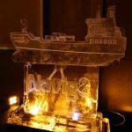 Navig8 Ship Ice Sculpture Vodka Luge at Dorchester Hotel Park Lane