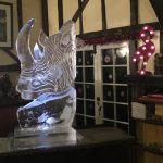 Rhino Animal Ice Sculpture Vodka Ice Luge