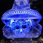 Mexican Skull Ice Sculpture Vodka Ice Luge for Cambridge May Ball