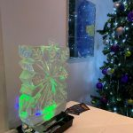 Snowflake Small Vodka Ice Luge Ice Sculpture at Crawley Christmas Party