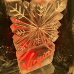 Virgin Logo and Snowflake Vodka Ice Luge Ice Sculpture For Office Christmas Party Gatwick