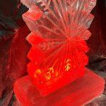 Snowflake Vodka Ice Luge Lit Red