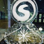 Christmas Party Sumo Digital Logo ice sculpture vodka luge in Sheffield