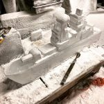 Type 45 Destroyer Royal Navy Naval ThemeIce Sculpture Vodka Luge at Portsmouth