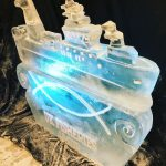 Kirkella ship ice sculpture ice luge at royal musuemgreenwich event
