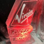 Virgin Logo Ice Sculpture Vodka Ice Luge for Richard Branson