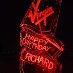Virgin Richard Branson Birthday Ice Sculpture Vodka Luge Ice Carving in Gatwick