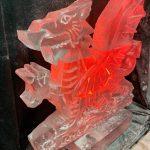 Welsh Wedding Dragon Vodka Ice Luge Ice Sculpture for Celtic Manor Wedding