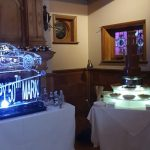50th Birthday Ice Sculpture Vodka Ice Luge with large Chocolate Fountain