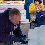 Christmas Market Live Ice Sculpture Carving Display in Aldershot and Farnham