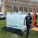 Live Ice Carving of Ice Block for Affinity Water at St Albans Cathedral